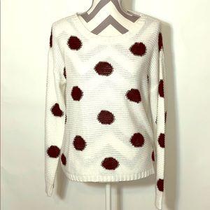 Studio Y white knit sweater with black dots Sz m